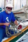 Skipper Ed Witt on Regulus, 38' Crocker gaff schooner.  Leoflex-X and LeTonkinois.